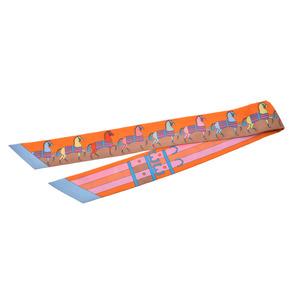 エルメス(Hermes) エルメス ツイリー 馬柄 ベルト オレンジ レディース シルク100% 新品 HERMES 箱 銀蔵