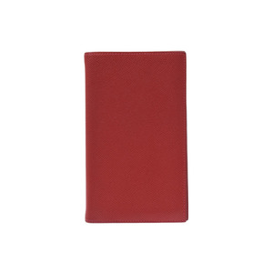 Hermes notebook cover red □ R engraved ladies Epson A rank HERMES second hand silver storage