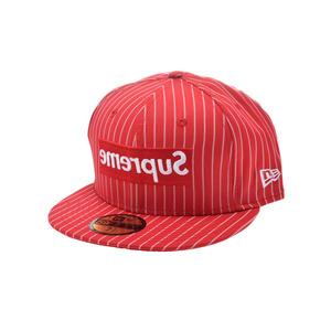 シュプリーム(Supreme) シュプリーム ギャルソンコラボ ニューエラーキャップ サイズ7 1/2 赤 メンズ コットン100% 帽子 未使用 美品 Supreme COMME des GARCONS SHIRT
