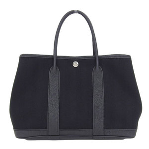 Genuine HERMES Hermes Garden Party TPM Tote Bag Black C Engraved Leather