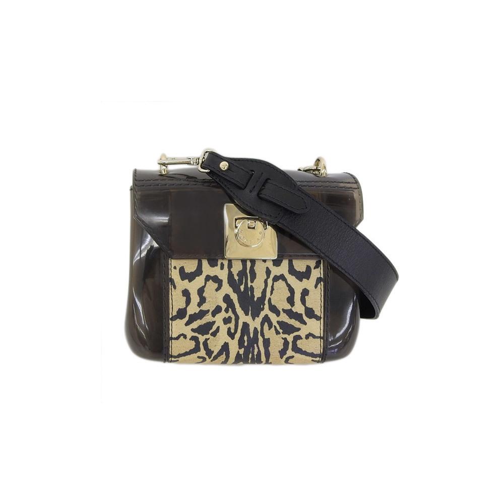 Genuine FURLA Full levinyl leopard diagonal shoulder black beige bag leather
