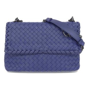 Genuine Bottega Veneta Intorechat 2 Way Chain Shoulder Bag Blue Leather