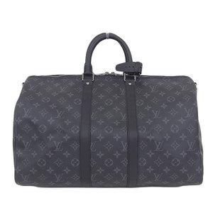 Authentic Louis Vuitton Monogram Eclipse Keypol Band Riel 45 2way Boston Bag Leather