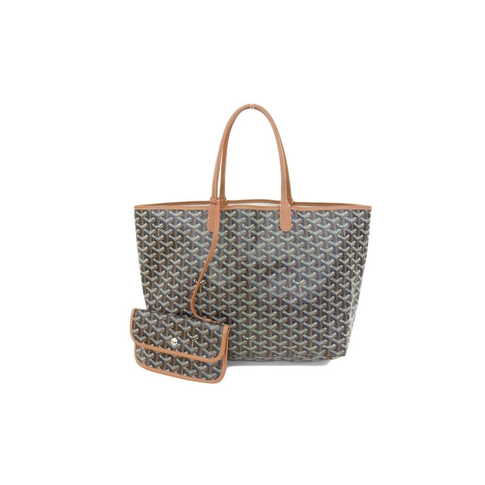 Genuine GOYARD Goyar Saint Louis PM Tote Bag Black Tea Leather