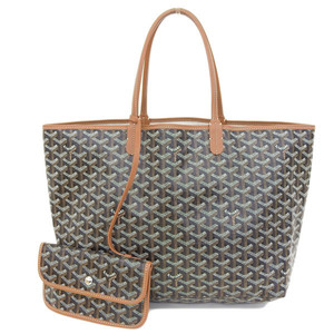 Genuine GOYARD Goyar Saint Louis PM Tote Bag Black Tea Leather