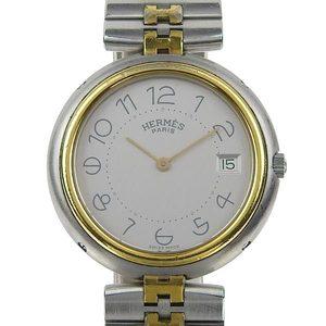 Genuine HERMES Profile Mens Quartz Wrist Watch Gray Dial