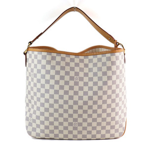 Genuine LOUIS VUITTON Louis Vuitton Damier Azur Delightful MM Tote Bag Model: N41448 Leather