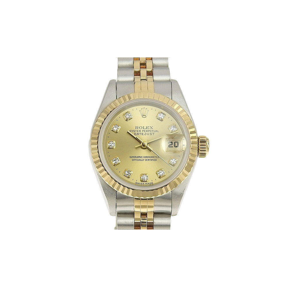 Authentic ROLEX Rolex Datejust 12P Diamond Ladies Automatic Watch Model Number: 69173G T number