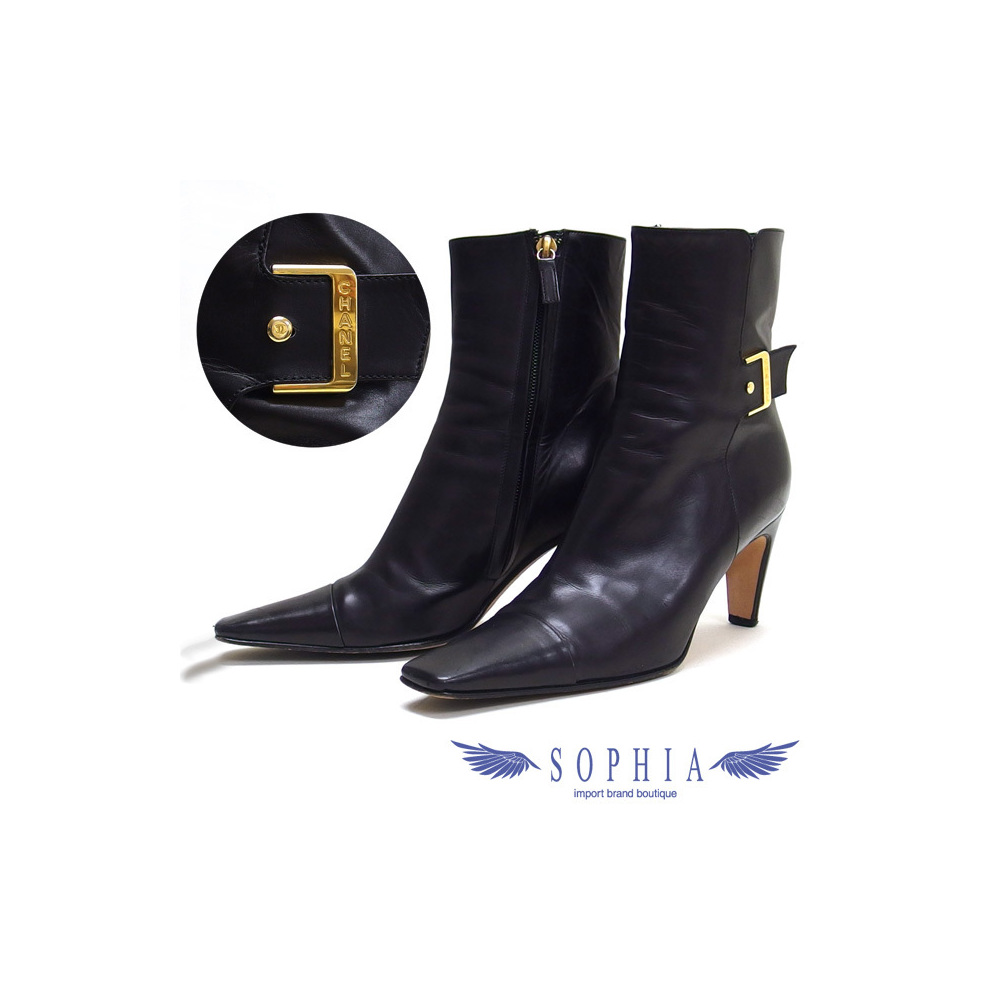 Chanel side zip short boots size 36 black 20181214