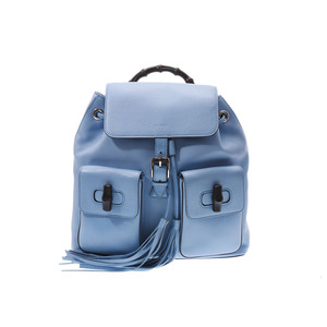 Gucci Bamboo backpack Blue series ladies' calf rucksack AB rank GUCCI second hand silver storage