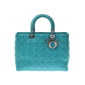 Dior Lady Kanage Emerald Green SV Hardware Women's Lambskin 2 Way Handbag AB Rank CHRISTIAN DIOR Used Ginza