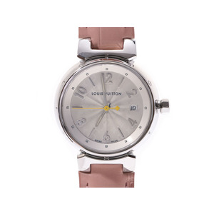 Louis Vuitton Tambour silver dial face Q121K ladies' SS / leather quartz wristwatch A rank beautiful goods LOUIS VUITTON box gura used storage