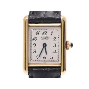 カルティエ マストタンク レディース GP/革 クオーツ 腕時計 Aランク 美品 CARTIER 中古 銀蔵