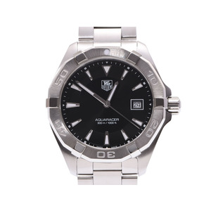 TAG Heuer Aquaracor black letter board WAY 1110 Men's SS quartz wristwatch A rank beautiful goods box gala second hand silver storage