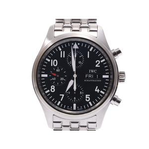 IWC pilot watch Chrono black letter board IW 371704 Men's SS automatic winding wristwatch A rank 美 品 secondhand silver kura