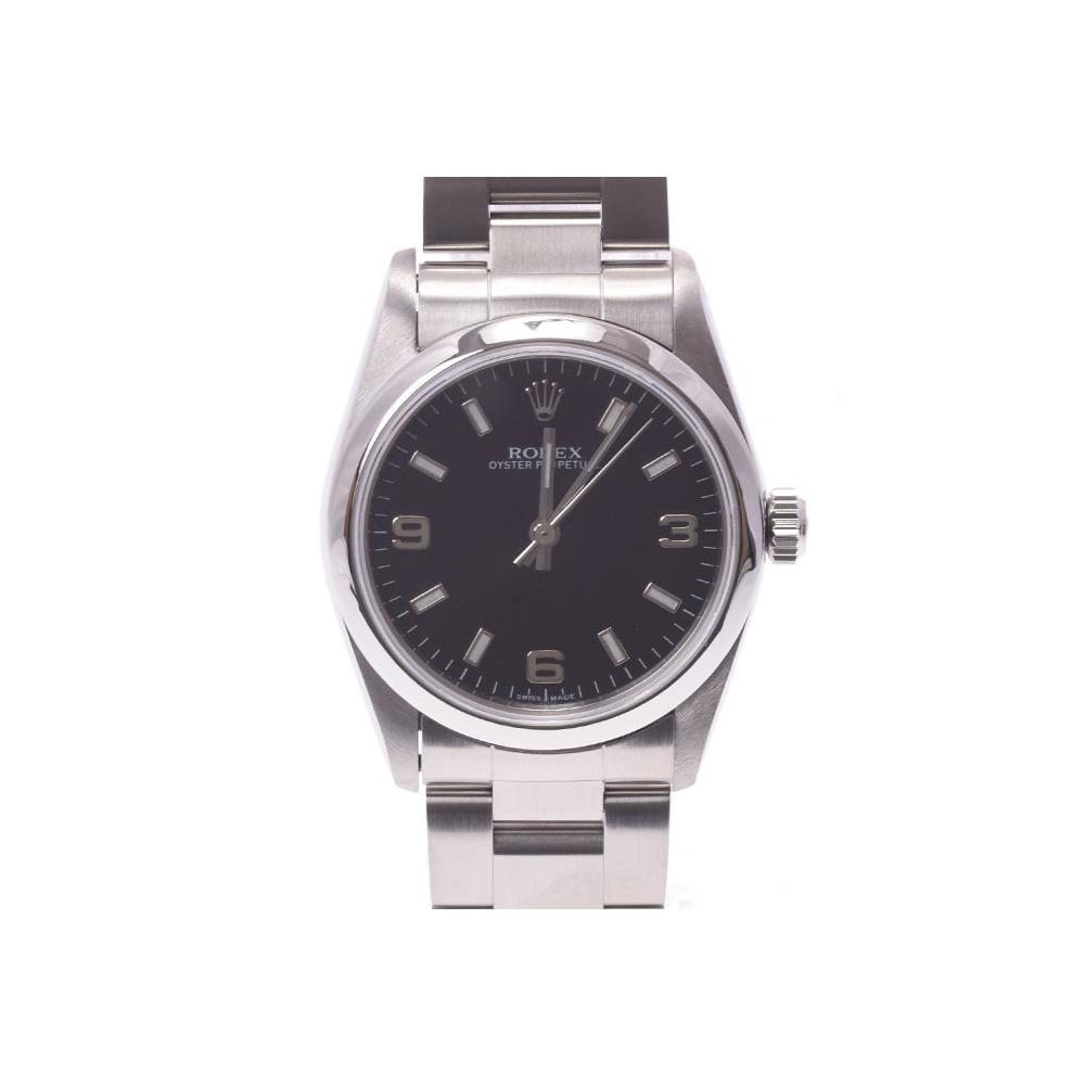 Rolex Perpetual Black Case 77080 A Womens SS Automatic Volume Watch Rank beautiful item ROLEX Box Gala Used Ginza
