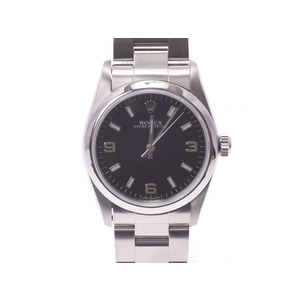 Rolex Perpetual Black Case 77080 A Womens SS Automatic Volume Watch Rank beautiful item ROLEX Box Gala Used Ginza