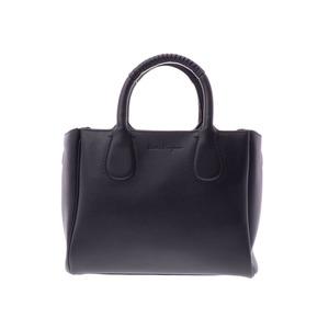 Salvatore Ferragamo Ferragamo Norita Black Ladies' Calf 2 Way Bag A Rank beautiful item FERRAGAMO second hand silver storage