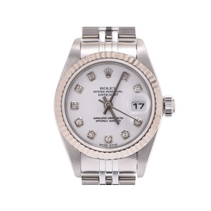 Rolex Datejust 10P Diamond White Dial 79174G F Ladies WG / SS Automatic Watch A Rank Beautiful ROLEX Used Ginza