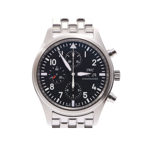 IWC pilot chronograph black letter board IW 371704 Men's SS automatic winding wristwatch A rank 美 品 secondhand silver kura