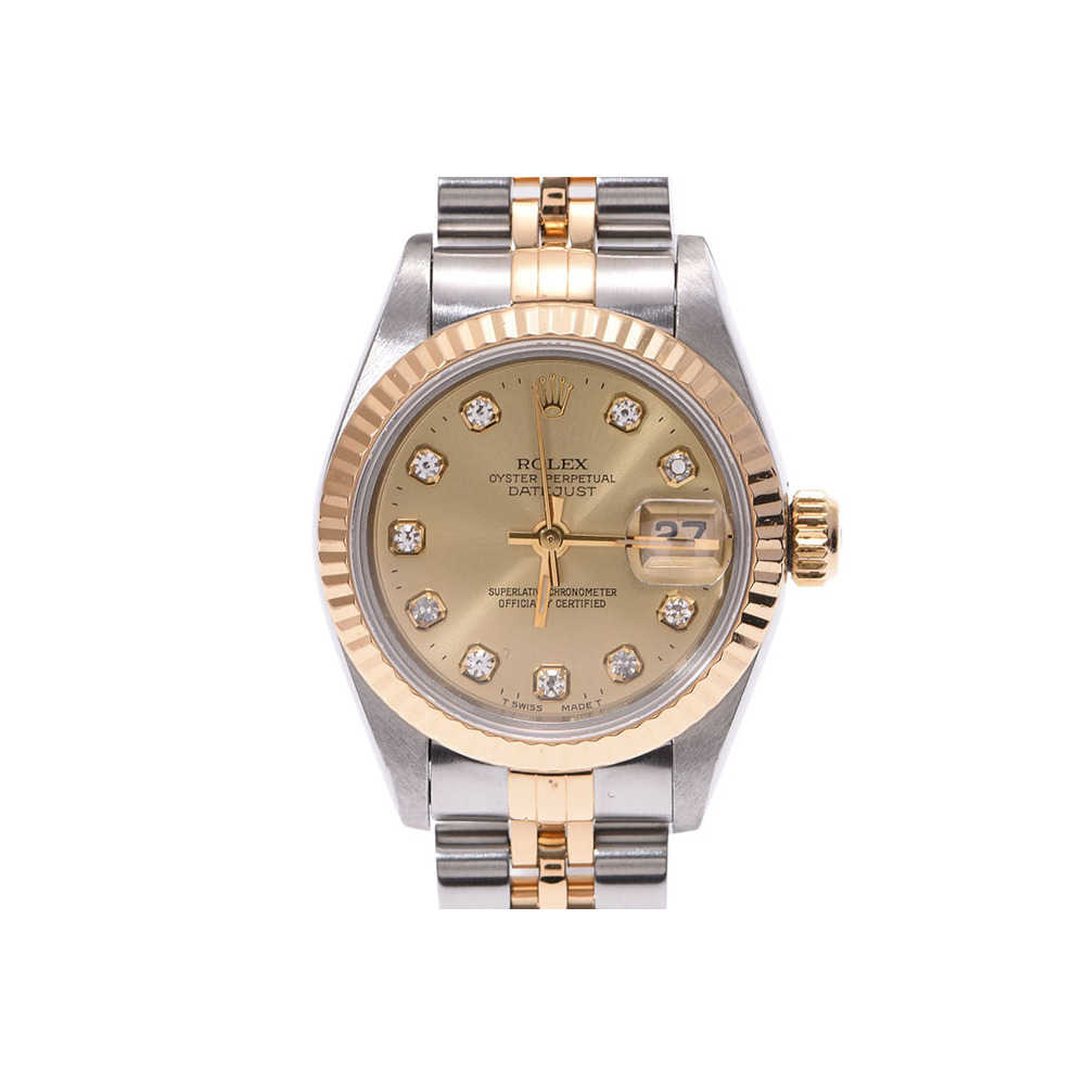 Rolex Datejust 10P Diamond Champagne Dial 69173G W # Women's YG / SS Automatic Watch A Rank 美 品 ROLEX Box Used Ginza