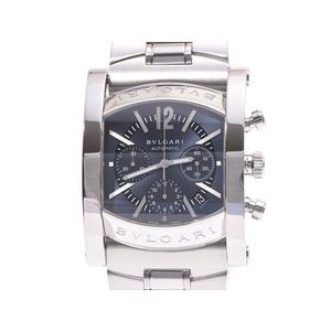 ブルガリ アショーマ48 クロノ 青文字盤 AA48SCH メンズ SS 自動巻 腕時計 Aランク 美品 BVLGARI 箱 ギャラ 中古 銀蔵