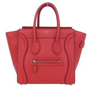 Genuine CELINE Céline micro shopper handbag red bag leather