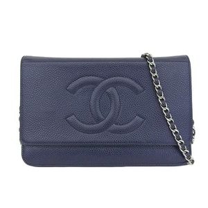 Genuine CHANEL Chanel caviar skin chain wallet Navy 16 series leather