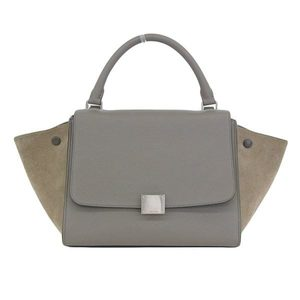 Genuine CELINE Celine corrugation 2 WAY handbag gray type bag leather