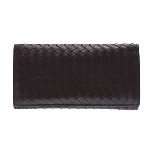 Bottega Veneta zipper Long wallet Intorechat tea mens calf long B rank BOTTEGA VENETA second hand silver storage