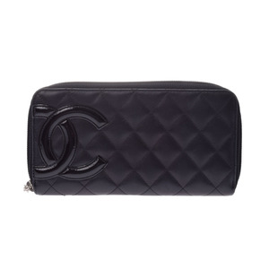 cd93bc91561d3f Chanel Cambon Line Round Zipper Purse Black Ladies Lambskin AB Rank CHANEL  Used Ginza