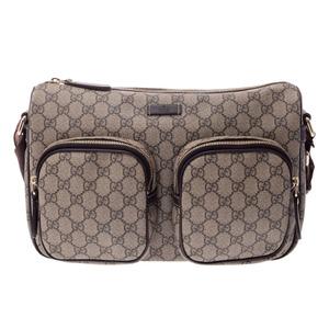 Gucci GG Supreme shoulder bag gray type / dark brown men's lady's PVC A rank GUCCI second hand silver storage