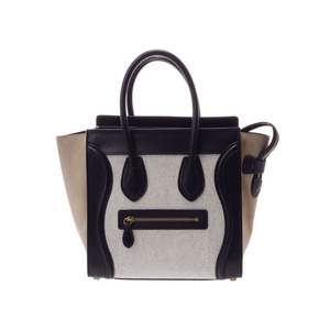 Celine luggage micro shopper Tricolor Women's calf canvas handbag AB rank CELINE second hand silver storage