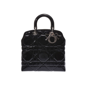 Dior 2WAY handbag black SV bracket Women's enamel A rank 美 品 CHRISTIAN DIOR with strap Used silver storage