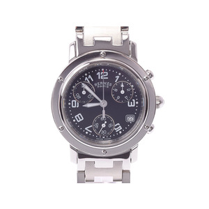 Hermes Clipper Chrono New Buckle Black Letterboard CL1.310 Ladies' SS Quartz Wrist Watch A Rank Mint HERMES Used Ginza