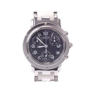 エルメス クリッパー クロノ 新型バックル 黒文字盤 CL1.310 レディース SS クオーツ 腕時計 Aランク 美品 HERMES 中古 銀蔵