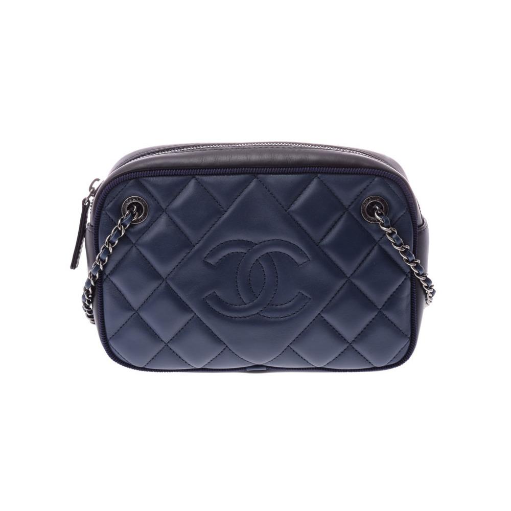2041914540ae シャネル(Chanel) シャネル マトラッセ チェーンショルダーバッグ 青/黒 SV金具 レディース ラムスキン