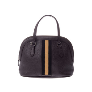 Gucci 2 WAY shoulder bag dark brown type ladies calf A rank GUCCI strap attaching second hand silver storage
