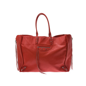 Balenciaga The Paper Red Ladies Men's Calf Tote Bag AB Rank BALENCIAGA Used Ginza