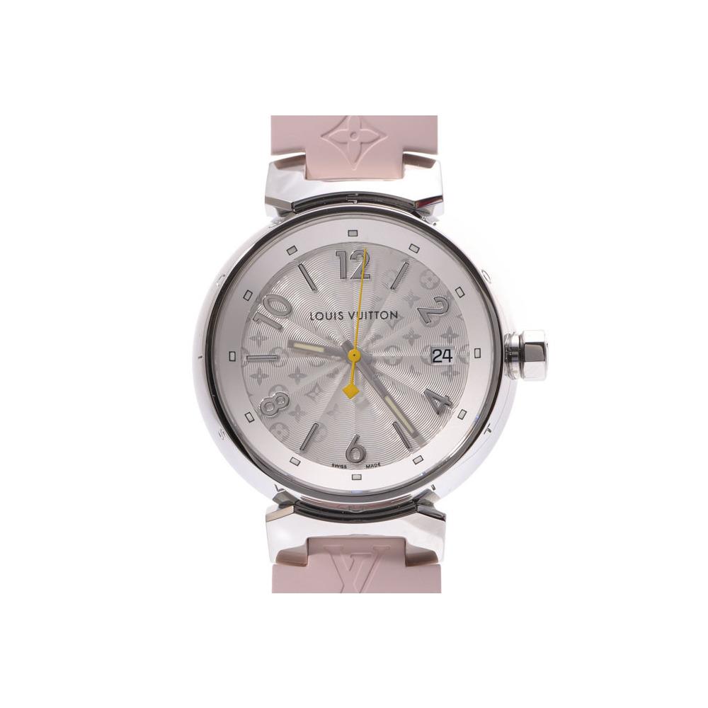 Louis Vuitton Tambour White Dial Q1313 Women's SS / Rubber Quartz Wrist Watch A Rank Mint LOUIS VUITTON Box Used Ginsho