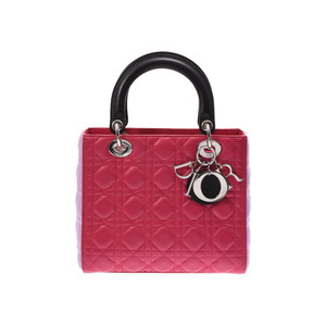 Dior Lady Pink / Light System Black Ladies Leather 2 Way Bag AB Rank CHRISTIAN DIOR Gala Strap Used Ginza