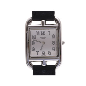 HERMES Cape Cut de Pull toul White Dial CC1.210 □ F Engraved Ladies' SS / Leather Quartz Wrist Watch AB Rank Used Ginza