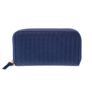 Bottega Veneta round fastener length wallet Intorechat blue men's ladies lambskin B rank BOTTEGA VENETA second hand silver storage