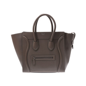 Celine luggage Mini shopper Brown series Gray Ladies leather handbag A rank CELINE Used silver storage