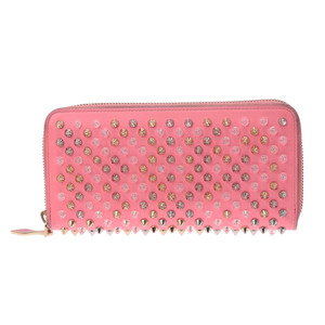 Christian Louboutin round zipper purse multi studs pink ladies calf B rank ChristianLouboutin second hand silver storage