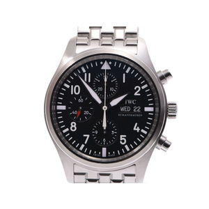 IWC pilot watch Chrono black character board IW 371701 Men's SS automatic winding wristwatch A rank 美 品 Galler second hand silver storage