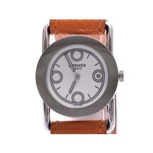 Hermes Barenia Rond Mini White Dial BR1.210 Ladies' SS / Leather Quartz Wrist Watch AB Rank HERMES Used Ginza