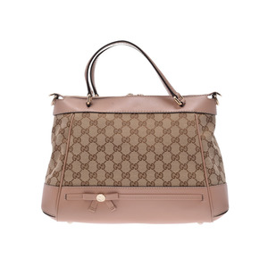 Gucci Mayfair 2 WAY Handbag Beige / Pink Women's GG Canvas A rank beautiful item GUCCI strap attaching second hand silver storage