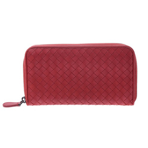 Bottega Veneta round fastener long wallet Intorechat red men's ladies lambskin B rank BOTTEGA VENETA second hand silver storage