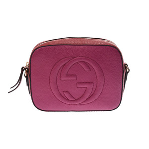 Gucci Soho Disco Shoulder Bag Purple / Red Ladies' Calf A Rank GUCCI Used Ginza